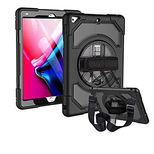 FSCOVER Funda Compatible con iPad Air 2, Shockproof Híbrido Resistente 3 en 1 Silicona + PC Smart Cover Case con Soporte Giratorio de 360 Grados y Correa de Hombro - Negro