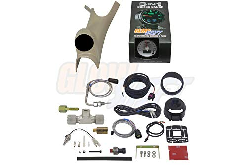 GlowShift 3in1 Diesel Gauge Package for 2003-2009 Dodge Ram Cummins 1500 2500 3500-60mm White Dial 1500 F Pyrometer EGT w/Digital Boost & Temperature Readings - Taupe Single Pillar Pod