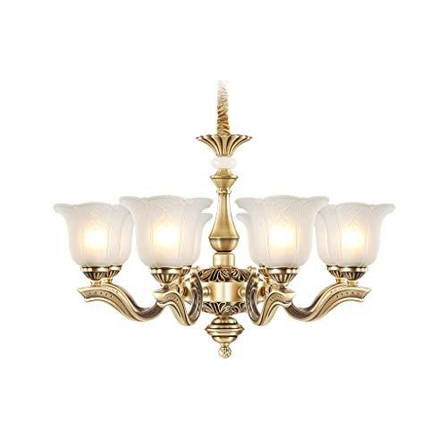 XWZH Kronleuchter Kupfer-Lampe Jade Europäischen Schlafzimmer Esszimmer Wohnzimmer Duplex Villa (Size : 9head)