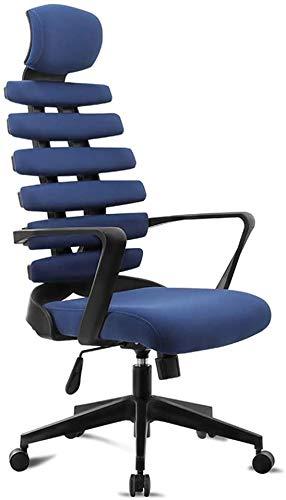 QCHEA Las sillas de Escritorio Ordenador Personal Ajustable, ergonómica con Respaldo Alto de 360 Grados giratoria con Control de torsión, for Adultos y niños (Color : Blue)