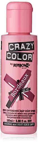 Renbow Crazy Color Semi-Permanent Hair Color Dye bordeaux 51-100 ml, 1er pack (1 x 115 g)