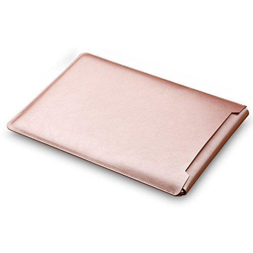 GENORTH® Weiche Hülle Leder Tasche für MacBook Air &MacBook Pro 13.3 Wasserdicht mit Schutz Tasche für Maus und Netzteil (13 Zoll, Rose Gold)
