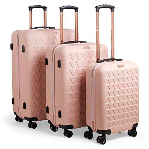 Beautify Lightweight Luggage Suitcase Hard Shell Travel Trolley, 3 Piece Set Hold On Hand Luggage Cabin Bag, 4 Wheel ABS Pink & Rose Gold