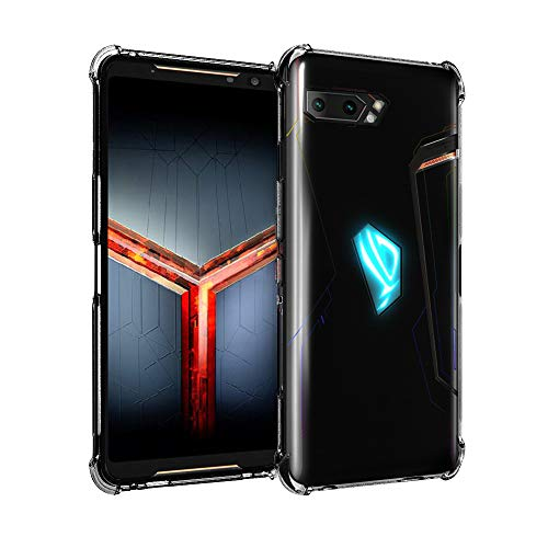 Orzero Soft TPU Case Compatible for ASUS ROG Phone 2 2019 (Not Fit for 1st Gen), Rubber Elastic Airbag Shock Absorbing Body Protection Phone Case -Crystal Black