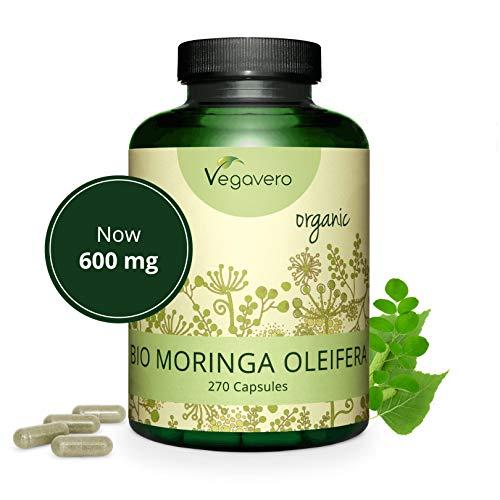 MORINGA Oleifera BIO Vegavero | 600 mg | 270 capsule | Fonte naturale di proteine, vitamine e minerali | Vegan