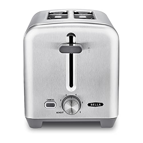 BELLA 2 Slice Toaster, Quick & Even Results Every Time, Wide Slots Fit Any Size Bread Like Bagels or Texas Toast, Drop-Down Crumb Tray for Easy Clean Up, Stainless Steel