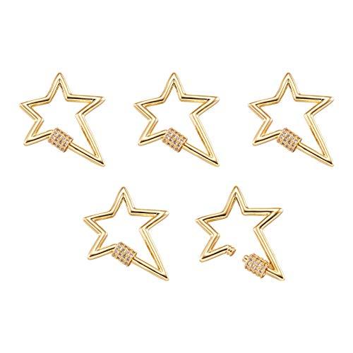 Beadthoven 5 piezas de estrella de circonita cúbica tornillo llavero de bloqueo de puerta de tornillo dorado hebilla de enlace mosquetón para hacer llaveros