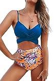 CUPSHE Women's High Waist Bikini Swimsuit Floral Print Tie Two Piece Bathing Suit, S Blue