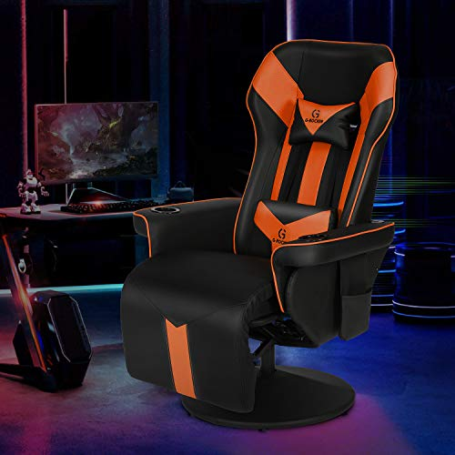 G-ROCKER King Throne Video Gaming Recliner Chair, Ergonomic High Back Swivel Reclining Chair with Bluetooth Speakers, Massage Lumbar Support, Backrest, Footrest, Headrest and Cupholder, Black Orange