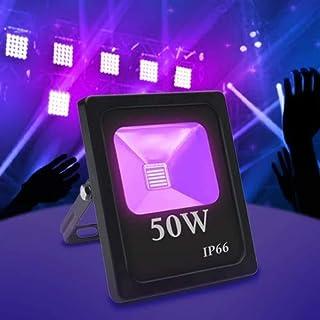 Exulight UV LED Flood Light, 50W High Power UV Ultraviolet Blacklight 85V-265V AC IP66 Waterproof for Parties,Curing, Glue...