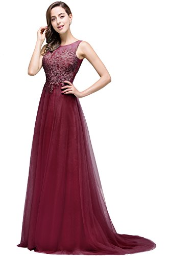 Damen Elegant Tüll A-Line Brautkleid Standesamt Brautjungfernkleid mit Applique lang Weinrot  42