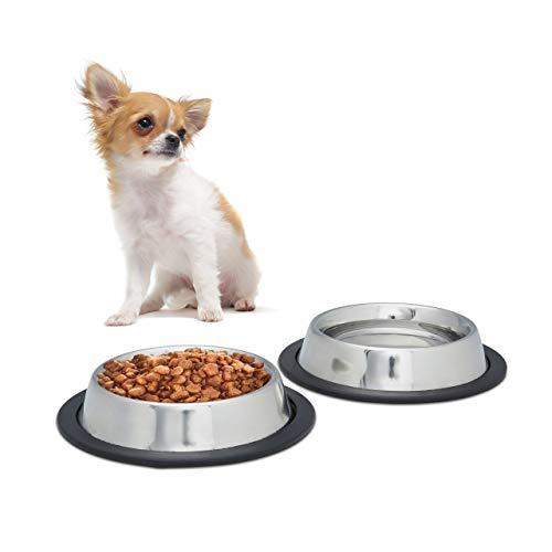 Relaxdays Set 2 Ciotole per Cani in Acciaio Inox, per Acqua e Cibo, Antiruggine, Antiscivolo, Misura S, 200 ml, Argento