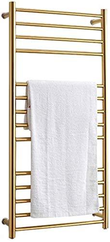 Toallero Eléctrico Bajo Consumo Calentador de toallas, calentador de toalla de pared de acero inoxidable 304, estante de secado de toalla climatizada eléctrica con 14 barras para baño, oro, 1100x520mm