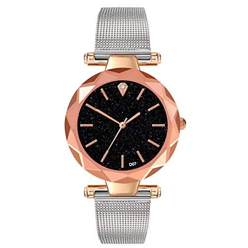 TWISFER Damen Uhr Analog Quarz Armbanduhr mit Mesh-Metallarmband Damenuhren mit Sternenhimmel-Marmor Zifferblatt für Frauen