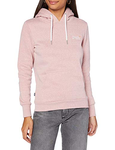 Superdry Womens ORANGE Label Overhead Hooded Sweatshirt, Sandy Pink Snowy, S