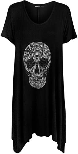 WearAll - Mujer Camiseta Calavera Caída Detalle en Lentejuelas Manga Corta