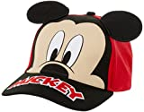Disney Mickey Mouse Baseball Cap with 3D Mickey Ears (Toddler/Little Boys), Size 4-7, Red/Black