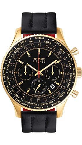 DETOMASO Firenze XXL Herren-Armbanduhr Chronograph Analog Quarz silbernes Edelstahl-Gehäuse blaues Lederarmband blaues Zifferblatt D04-03-01