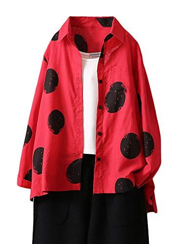FTCayanz Damen Bluse Langarm Shirts Polka-Dots Locker Hemd Freizeit Oberteil Rot XXL