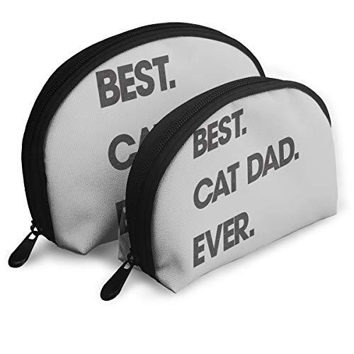 Best Cat Dad Ever Shell-Shaped Cosmetic Bag, Handbag Clutch Bag Storage Bag Lady Handbag Zipper Storage Bag 2.