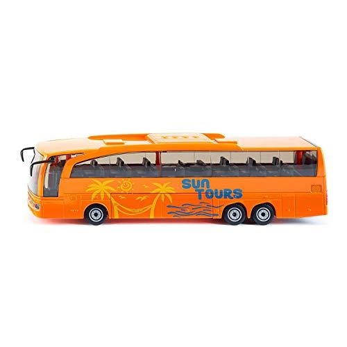 SIKU 3738, Mercedes-Benz Travego Reisebus, 1:50, Metall/Kunststoff, Öffenbare Türen und Klappe, Orange