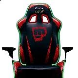 Clutch Chairz Pewdiepie Silla LED 100M – Silla ergonómica para videojuegos, silla de oficina, silla alta y almohada lumbar para escritorio de ordenador, color negro – Serie acelerador
