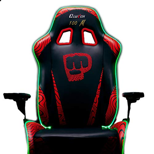 Clutch Chairz Pewdiepie Chair LED 100M - Ergonomic Gaming Chair, Video Game Chairs, Office Chair, High Chair and Lumbar Pillow for Computer Desk - Black - Throttle Series
