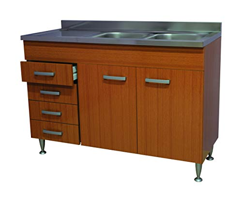 Mobile cucina teak 2 ante + cassetti a sx completo di lavello inox 120 sottolavello