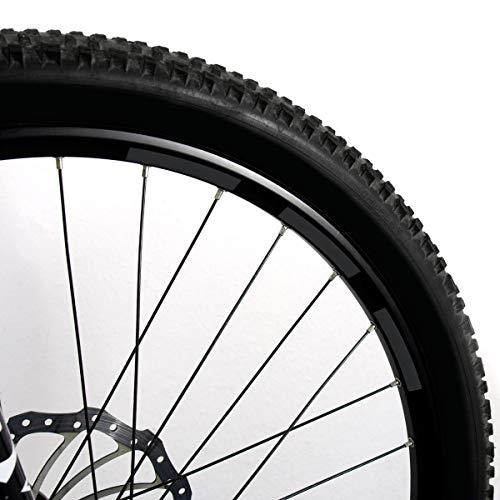 Motoking Fahrrad-Reflektorenaufkleber - Schwarz - 22 Aufkleber im Set - Breite: 10 mm - reflektierende Felgenaufkleber für Mountainbike-, Fahrradfelgen & mehr