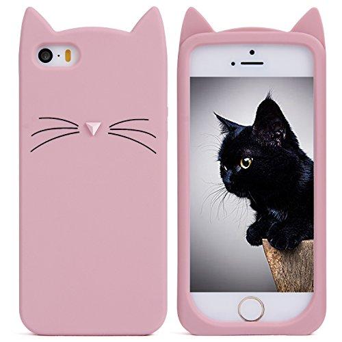 Imikoko iPhone SE 5 5s ケース シリコン かわいい おしゃれ キャラクター ねこ ディズニー 面白い 猫型 耳