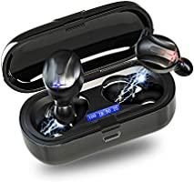 Bluetooth ワイヤレスイヤホン 2020年最新版 Bluetooth5.0第三世代 革新的瞬時接続 IPX7完全防水ワイヤレス イヤホン LEDディスプレイ電量表示 Hi-Fi高音質 8.0ノイズキャンセリング&AAC対応 両耳...