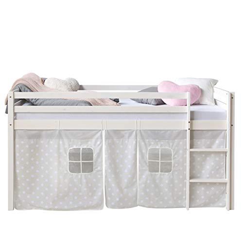 Homestyle4u 1888, Loft lit Blanc 90x200 Enfants, Rideau avec étoiles, Bois