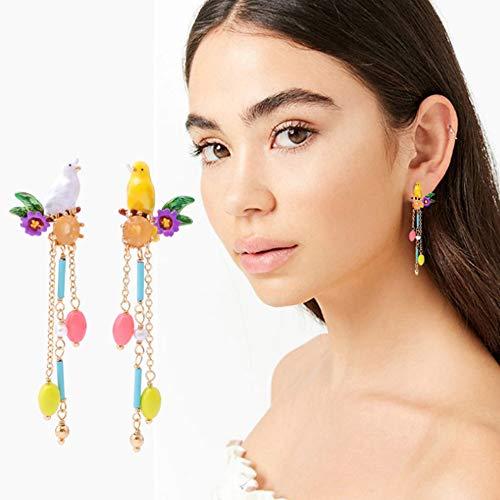 CAHM Emaille glazuur vogel oorbellen, lange franje oorbellen meisje persoonlijkheid temperament schattig creatief cadeau vriendin Surprise Sieraden