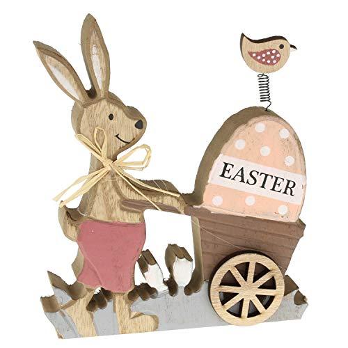 MACOSA EX238681 - Coniglio decorativo con carriola, in legno, coniglietto pasquale, decorazione pasquale, decorazione da tavolo, coppia di conigli