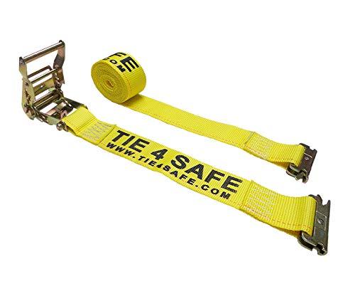 "Mega Cargo Control 10 - Pack 2"" x 12' E-Track Ratchet Tie Straps Trailer Van Enclosed Truck Tie Down (12 FT - Yellow) -  Tie 4 Safe, RT06-12M23Y-10"