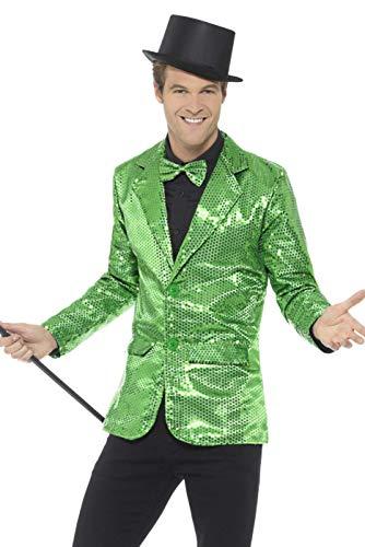 Smiffys, pailletten jas voor heren Large groen