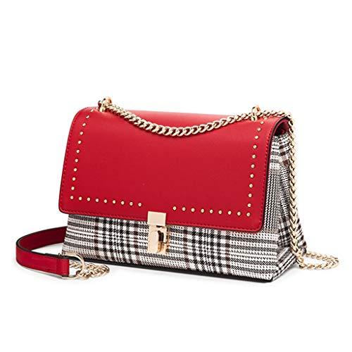 Neue Damen Kette Schultertasche Fashion Wild Messenger Mädchen Plaid Square Bag (Farbe : Rot)