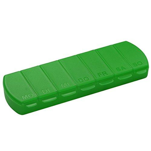 Pillendose 7 Tage Medikamentenbox Tablettenbox BPA-FREI Aufbewahrungsbox mit Deckel für Unterwegs 11 x 4 x 1.4 cm (Grün)