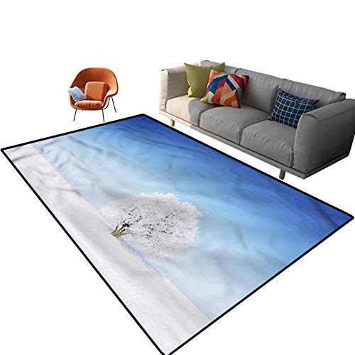 Indoor Room Winter Area Rugs,3'x 5',Alone Tree Snowy Field Floor Rectangle Rug with Non Slip Backing for Entryway Living Room Bedroom Kids Nursery Sofa Home Decor