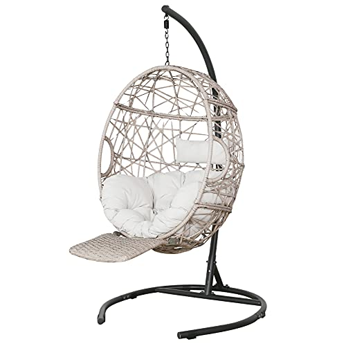Ulax Furniture Outdoor Patio Wicker Hanging Basket Swing Chair Tear Drop Egg Chair with Cushion, Stand and Adjustable Footrest (Beige)