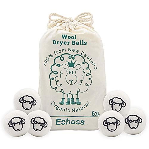 Echoss Bolas Lana secadora Pura Lana de Oveja Orgánico Natural de Nueva Zelanda Bolas de Secado Reutilizables para Lavandería Suavizante de Telas Anti- Estáticas(7cm Diámetro, Paquete de 6)