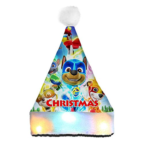PETWIN Anime Christmas Hat Santa Hat PAW-Patrolmas 3D Printin Colorful Light Up Xmas Hats for Christmas Festival Party Costume Gifts