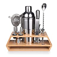 Quilamix Bartender Kit, 12 Piece Cocktail Shaker Set with Double Layer Bamboo Stand - Perfect Home Bartending Kit for Mixed Drink, Martini Bar Tool Set Stainless Steel -Cocktail Recipes Booklet(25 oz)