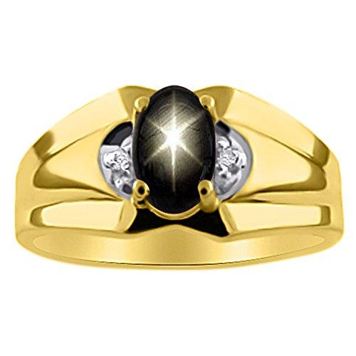 Plata de Ley diamante y anillo negro Star Sapphire o 14K oro amarillo chapado en plata