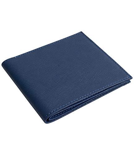 [Dom Teporna] 極薄 二つ折り財布 メンズ 薄い 牛革 レザー YKKファスナー シンプル お札入れ 小銭入れ カード入れ 薄型 財布 レディース ネイビー
