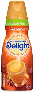 International Delight Sugar Free Hazelnut Coffee Creamer, 32 Fluid Ounce -- 6 per case.