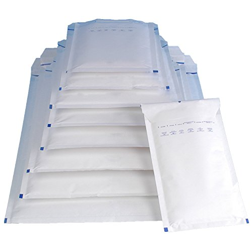 Mix 110 Luftpolsterversandtaschen Luftpolstertaschen weiß je 10 Luftpolsterumschläge der Größen A1 / B2 / C3 / D4 / E5 / F6 / G7 / H8 / I9 / K10 / CD - 11 verschiedene Größen in weiß