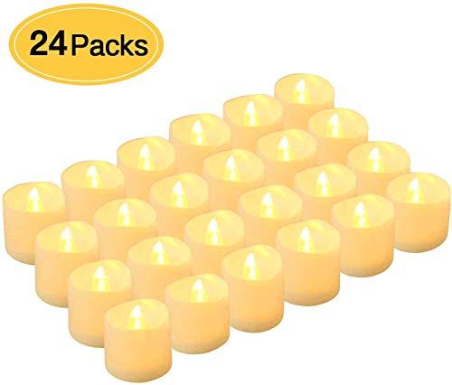 Kohree 24 LED flammenlose Kerzen Tealights elektrische Kerze Lichter flackernde batteriebetriebene teelichter outdoor für Muttertag, Valentinstag, Ostern, Party usw, warmweiß