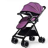 Carritos y sillas de Paseo Alto Cochecito de jardín Plegado Ultra Ligero Puede Sentarse Mentira Amortiguador Trolley para niños Un botón Plegable Bebé Sillas de Paseo (Color : Purple)