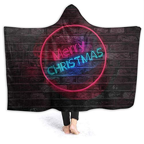 Shenguang Warm Hoodie Blanket Christmas Merry Hooded Throw Wrap Cape Cloak SPA Niños pequeños Reversible TV Movies Chal Franela con Mangas